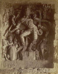 [Sculptured panel of Shiva dancing the Lalitam in Hindu Cave XIV (Ravana ka khai), Ellora.]